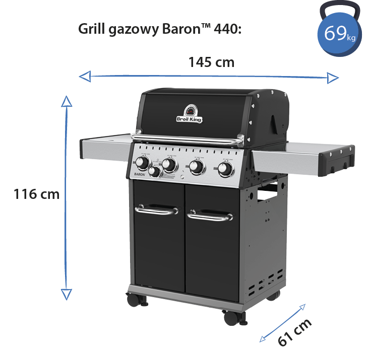 grill broil king baron 440 wymiary