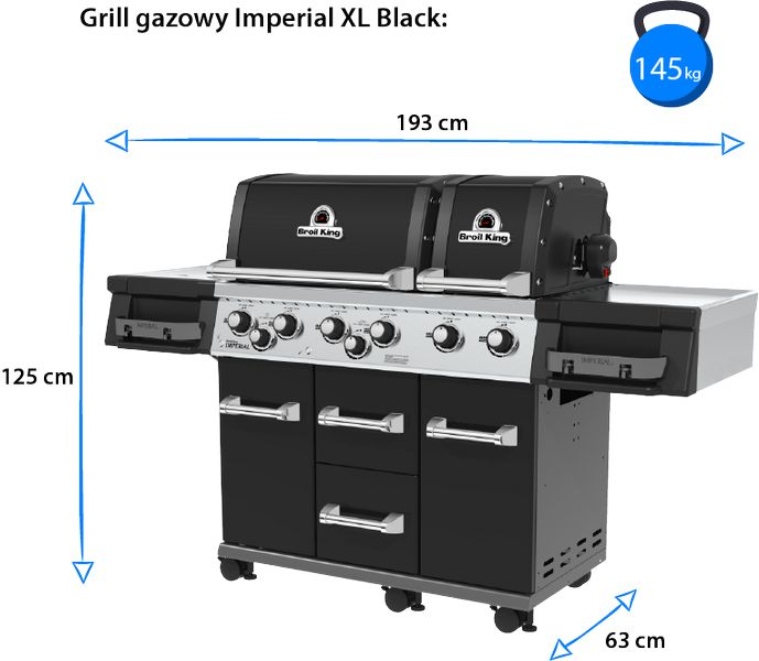 grill broil king imperial xl black wymiary