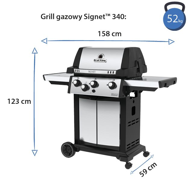 wymiary i waga broil king grill signet 340