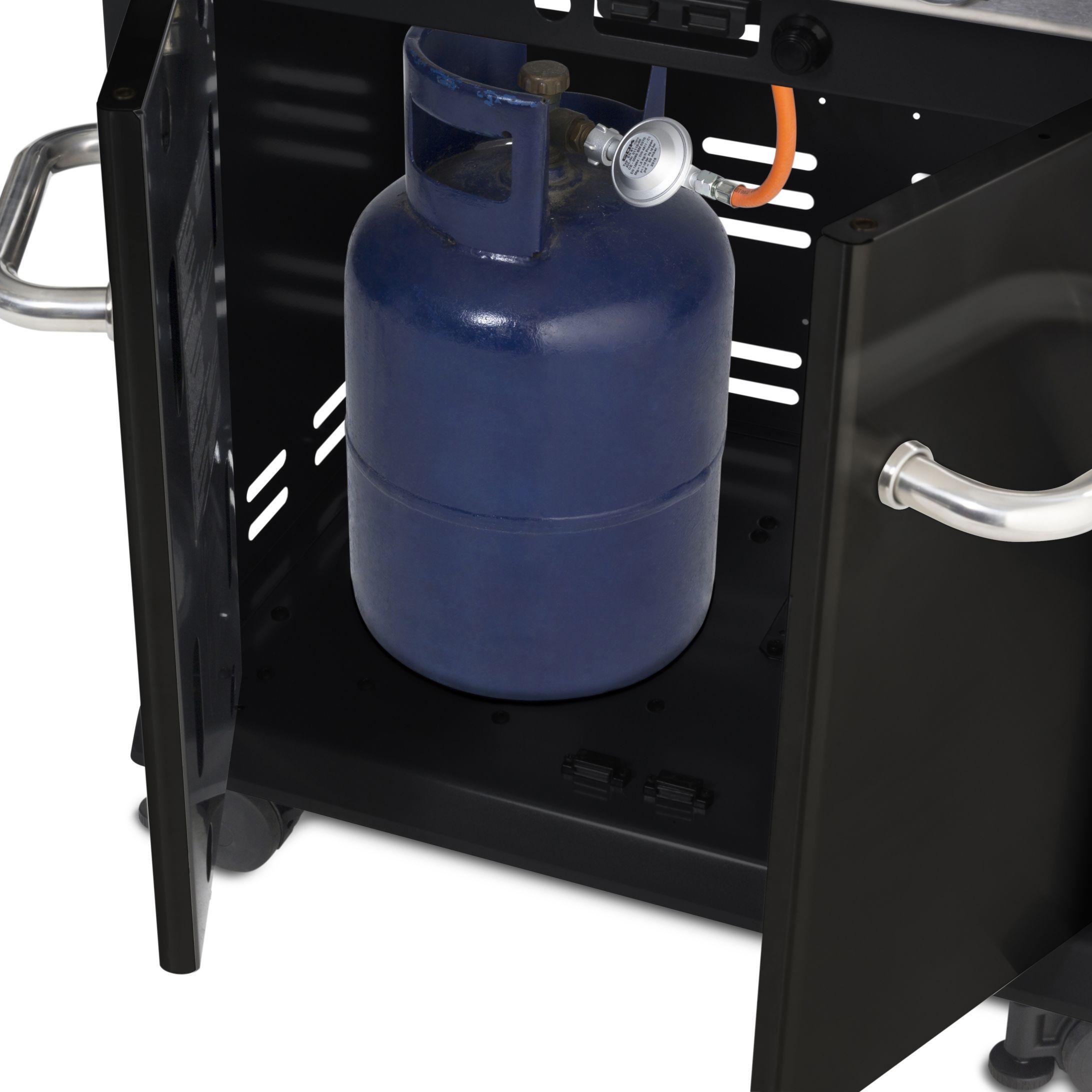 grill gazowy z butlą w szafce